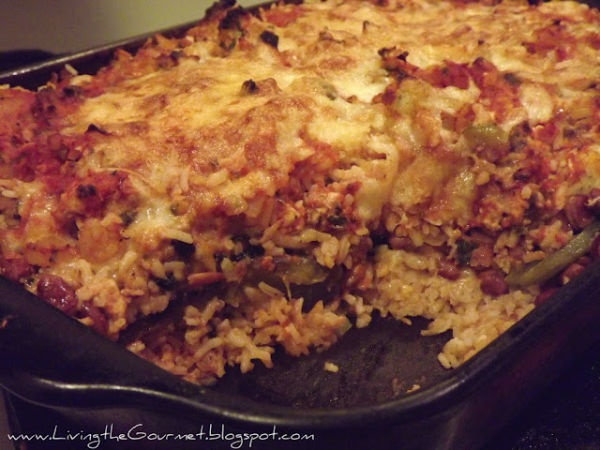 Baked rice and beans with ground pork