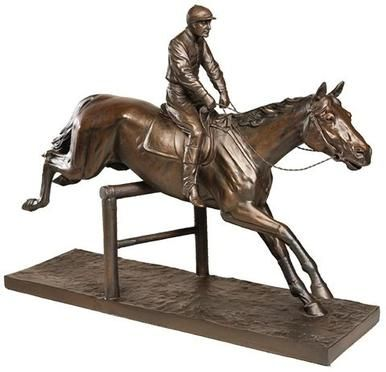 Sculpture Statue Steeple Chase Horse Large Cast Resin New Hand-Cast Hand OK-1615