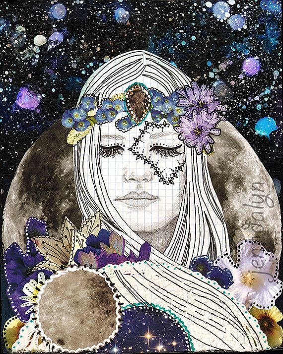 Luna  tecnica mista pittura lunare luna arte di Jenndalyn su Etsy
