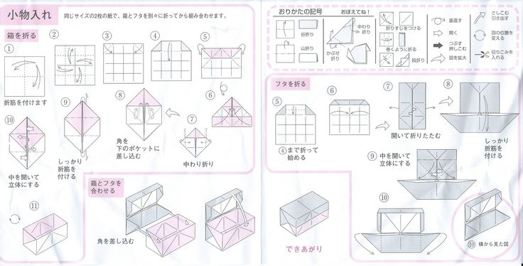 Origami - diagrams for two piece box with hinged lid.