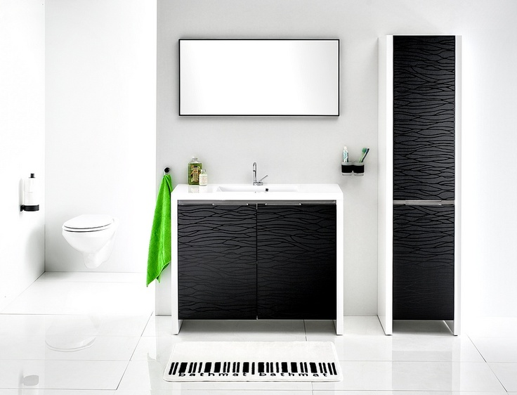 The Pacific bathroom furniture collection - black glossy waves over the black matte background, all in white massive frame / łazienka #bathroom #washbasin #minimalist #contemporary #white #black #furniture