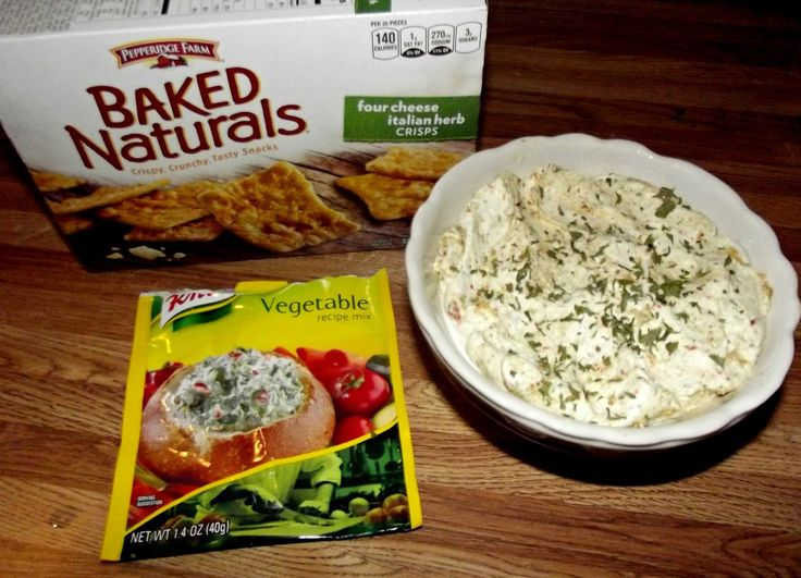 Vegetable Cream Cheese Dip    1 Package of Knorr Vegetable Soup, and 2 packages of cream cheese. Put soup mix in a blender to break it up a bit, takes just a second, so it won't have chuncks of vegetable pieces. Then stir in the softened cream cheese and serve with crackers or veggies!!