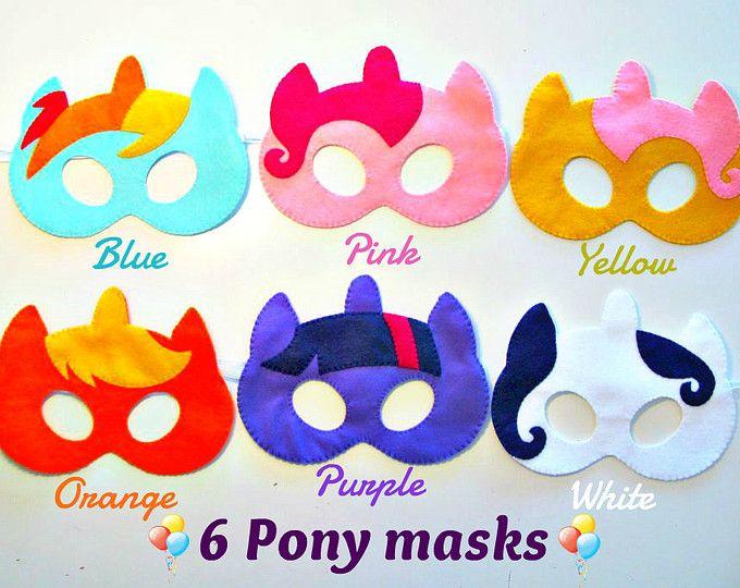 6 mi pequeño Pony máscaras fiesta paquete Rainbow dash, Pinkie pie Fluttershy Apple gato Twilight sparkle rareza fieltro accesorio del traje de vestir
