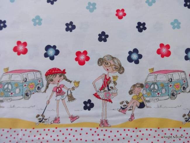 Kinderstoffe - Baumwollstoff  70's Campar weiß/bunt - ein Designerstück von rabenbunt-kreativ bei DaWanda