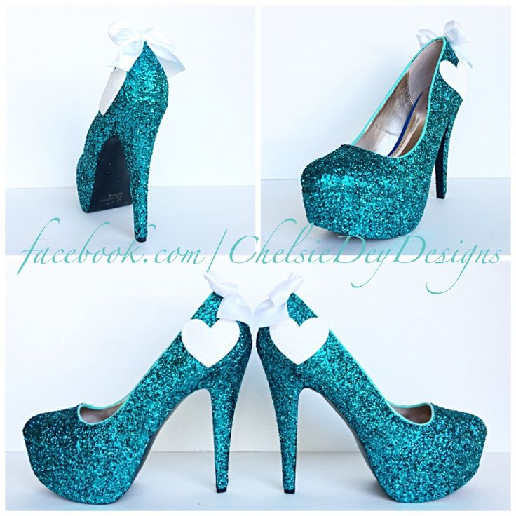 Teal Glitter High Heels - Aqua Turquoise Blue Pumps - White Hearts - Sparkly Wedding Shoes - Platform Prom Heels - pinned by pin4etsy.com