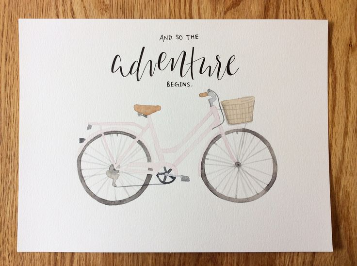 And so the adventures begin! Vintage watercolour bicycle soon to be available in our store at speakglitter.com. Watercolour modern calligraphy