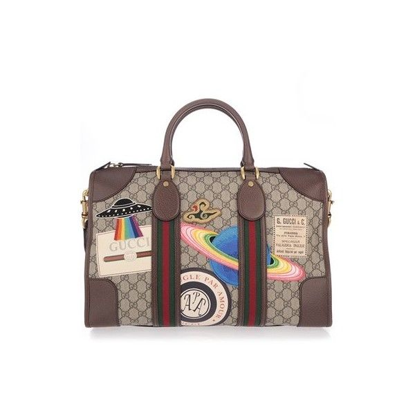 GUCCI Courrier Soft GG Supreme Duffle Bag (88 425 UAH) ❤ liked on Polyvore featuring men's fashion, men's bags, multi, mens leather bag, mens brown leather bag, mens leather duffel bag, mens leather duffle bag and men's duffel bags