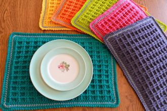 Waffle Stitch Placemat | YouCanMakeThis.com | Crochet Pattern