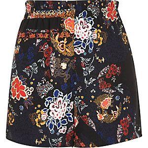 Black floral print high waisted shorts