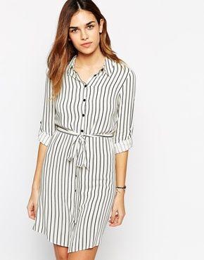 Enlarge New Look Stripe Longline Shirt Dress