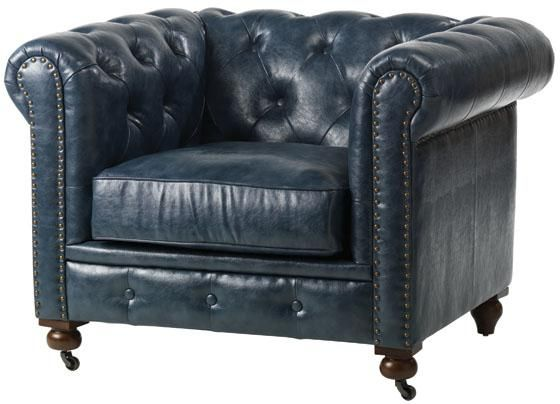 """I am really digging this affordable, blue leather chair from Home Decorator's!!    """"Gordon Tufted Chair"""""""