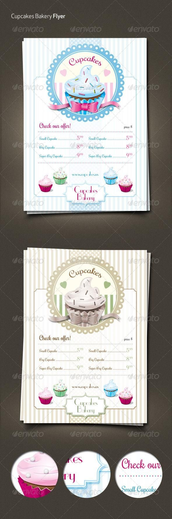 cupcakes retro menu flyer more menu and food menu template ideas. Black Bedroom Furniture Sets. Home Design Ideas