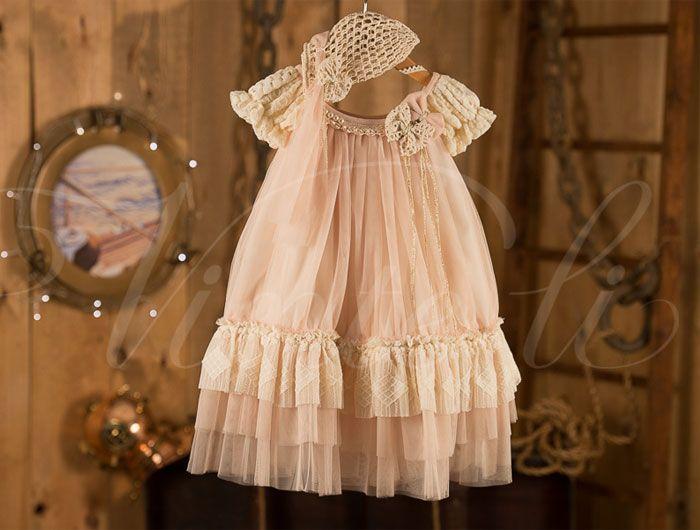 Βαπτιστικά ρούχα, φόρεμα Vinte li με δαντέλα 4304