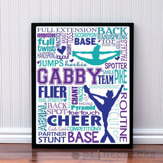 Competitive Cheerleader Poster - Custom Cheer Poster - Personalized Cheer Poster Print - Girl's Decor – PrintChicks