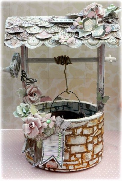 Solange Marques created this amazing wishing well project using the Primrose collection. Love that scalloped roof. #BoBunny, #alteredprojects @solange marques