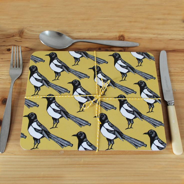 Perfect for adding a wow to your dining table.Love our Mischievous Magpie? Find him on many other products all available from our NOTHS store.With a strong mustard background our Mischievous Magpie placemats will catch any sploshes of gravy (or mustard) and rogue peas, whilst looking great on your table! Our placemats make a lovely gift to any style savvy friend or loved one (especially if they have just moved into a new home). Each set contains 4 placemats bundled together with bakers…