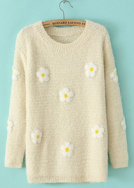 Tiny Flowers Print Long Sleeve Pullovers Sweater – Beige