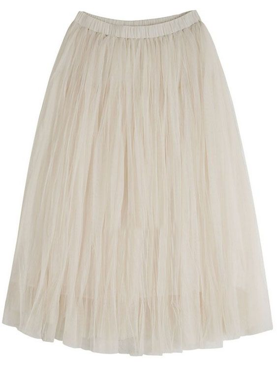 Apricot Elastic Waist Multilayers Mesh Skirt 16.33