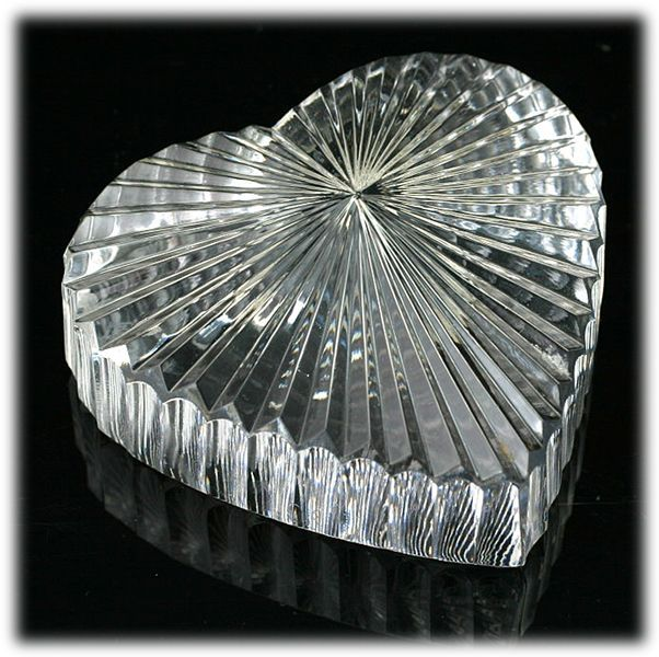 Waterford Crystal Heart Paperweight Hand Cut Irish Art Glass Signed