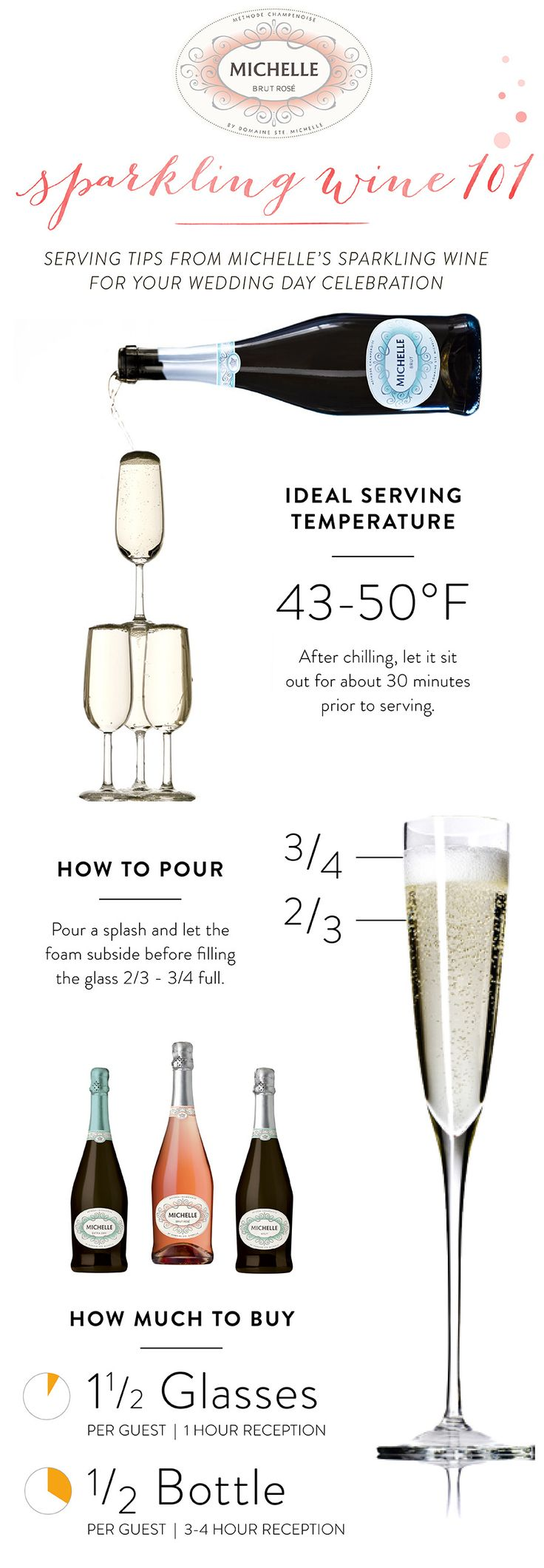It's pretty clear, we love all things bubbly-related around these parts — but we have a certain affinity for Michelle Sparkling Wine! Perfect for everything from engagement party cocktails to wedding day toasts, their wines are seriously delicious. Today, we've partnered with them to share serving tips + tricks to make sure the cocktails are on point for…