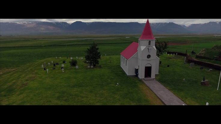 Glaumbær turf farm in Iceland  open-air museum - aerial drone video