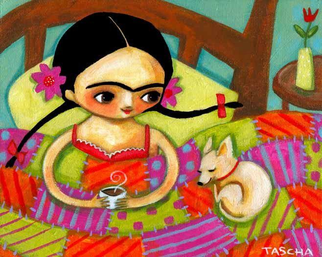 ORIGINAL acrylic painting FRIDA Kahlo with tea and by tascha