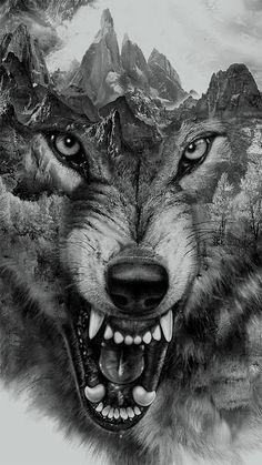 Wolf Collage for t-shirt printing by Eddie Yau, via Behance   tatuajes | Spanish tatuajes  |tatuajes para mujeres | tatuajes para hombres  | diseños de tatuajes http://amzn.to/28PQlav
