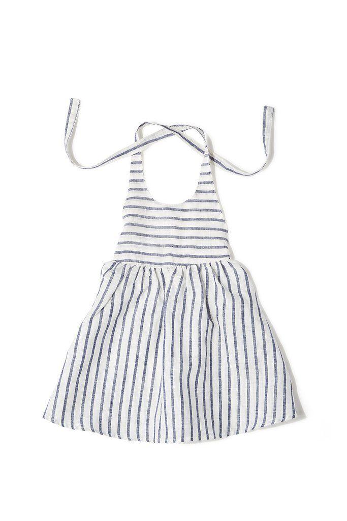 000634b16a Maya dress in blue striped linen
