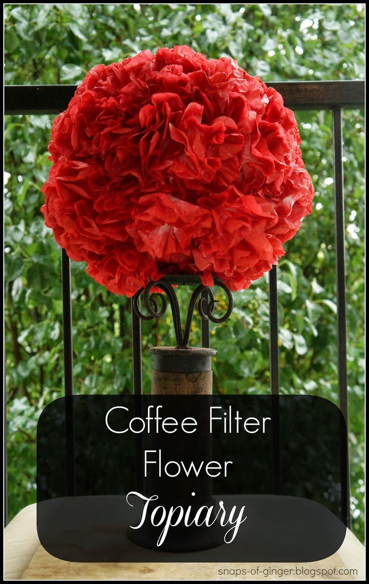 coffee filter flower topiary using dyed coffee filters and a chinese lantern http - Coffee Filter Uses