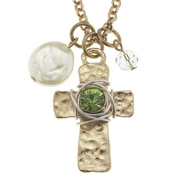 jane marie wire wrapped rhinestone cross necklace mint