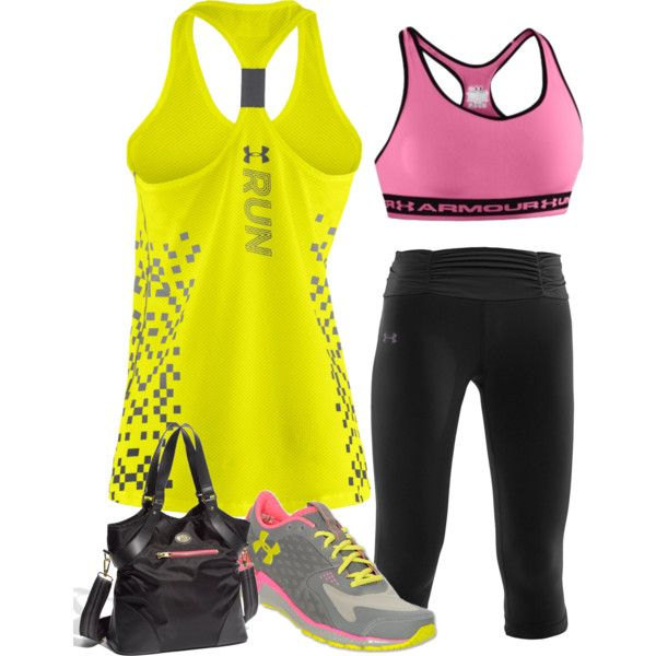 """""""Work-Out Outfit - Under Armour (yellow, pink & black)"""" by stay-at-home-mom on Polyvore"""
