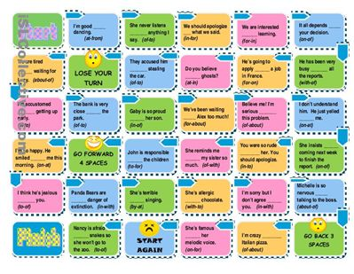 Prepositions Board Game -Easy and Advanced Versions worksheet - Free ESL printable worksheets made by teachers