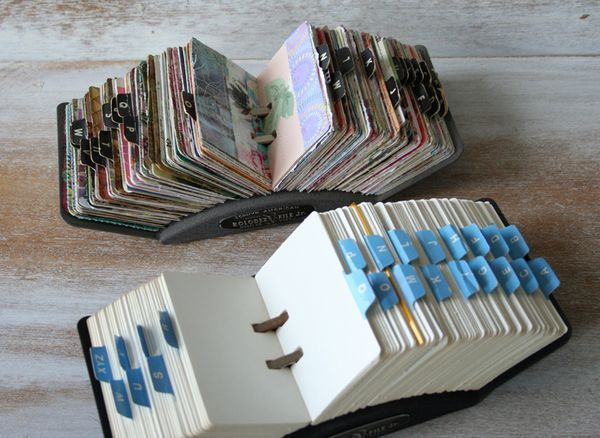 Use an old Rolodex to display all those beautiful scraps of paper.