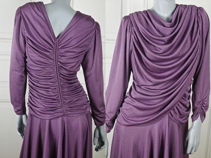 Purple Evening Dress, 1980s Elegant Cocktail Party Asymmetrical Dress w Goddess Draping, Danish Vintage Dynasty Dress: Size 10 US, 14 UK by YouLookAmazing on Etsy