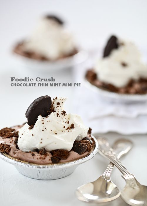 Craving > Girl Scout Thin Mint Mini Pies Plus Girl Scout Cookie Recipes  http://www.foodiecrush.com/2012/03/craving-girl-scout-thin-mint-mini-plus-girl-scout-cookie-recipes/