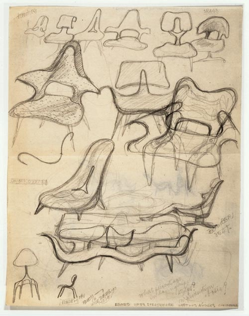 Ray Eames, Sketch of Chairs, c. 1943-46, graphite on tracing and kraft paper, Library of Congress, Prints and Photographs Division, The Work of Charles and Ray Eames. Source: Eidelberg M et al. The Eames Lounge Chair: An Icon of Modern Design