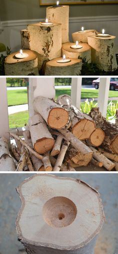 Tolle Kerzenhalter aus Baumstämmen. Teelichter in Bäumen. >> Tree Stump Candle Holders | 35 DIY Fall Decorating Ideas for the Home | Fall Craft Ideas for Adults