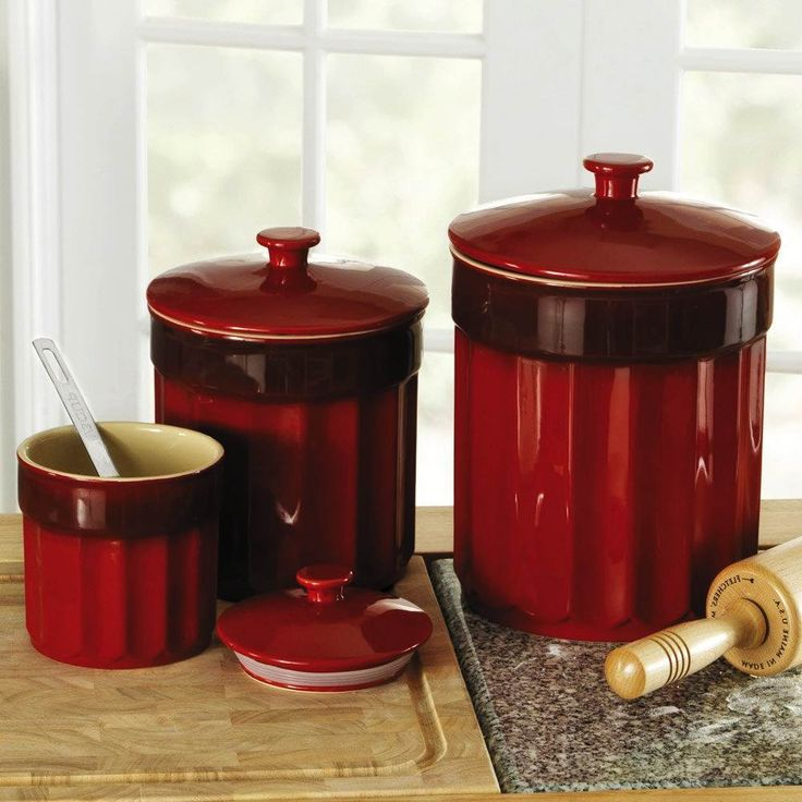 Red Kitchen Canister Sets Pertaining To Red Kitchen Canister Top 10