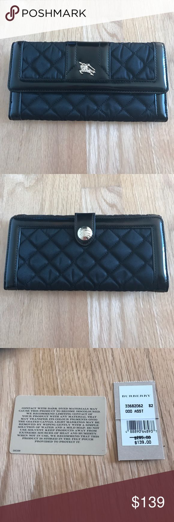Black Leather and Nylon Burberry Wallet Gently used black leather and nylon Burberry wallet. Comes with dust bag and tags. One side carries coins or receipts. Other side has 3 pockets for cash and receipts and 6 pockets for cards. This wallet is authentic. Burberry Bags Wallets
