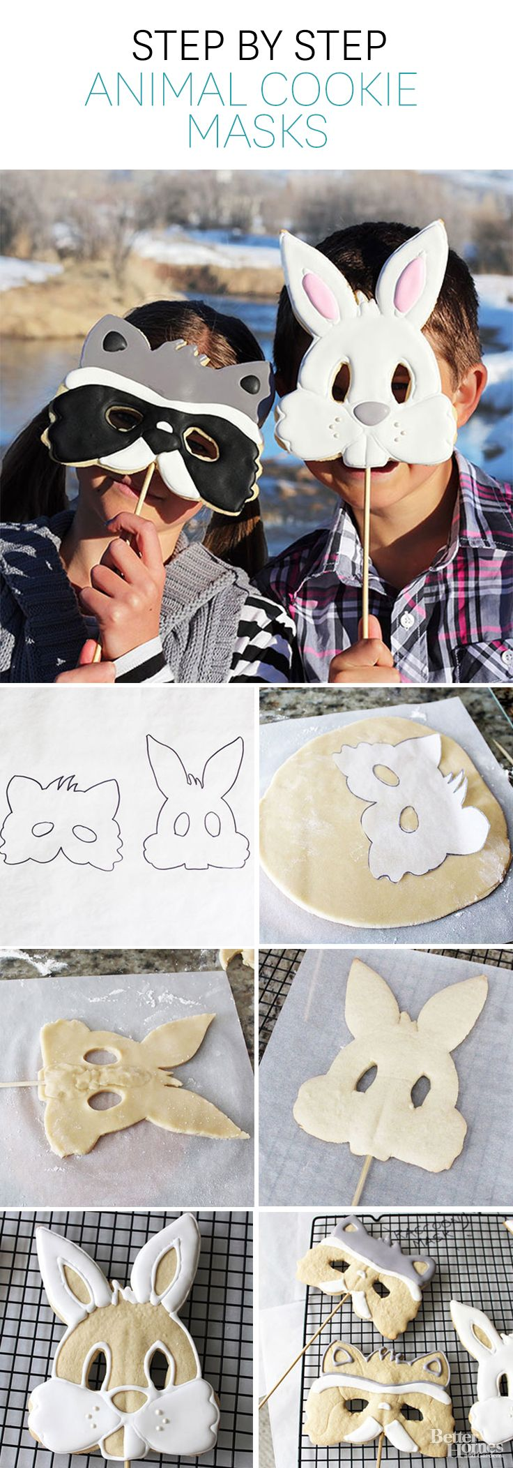These cute animal masks are delicious and fun! Get the directions here: http://www.bhg.com/recipes/desserts/cookies/animal-cookie-masks/?socsrc=bhgpin050614cookiemasks
