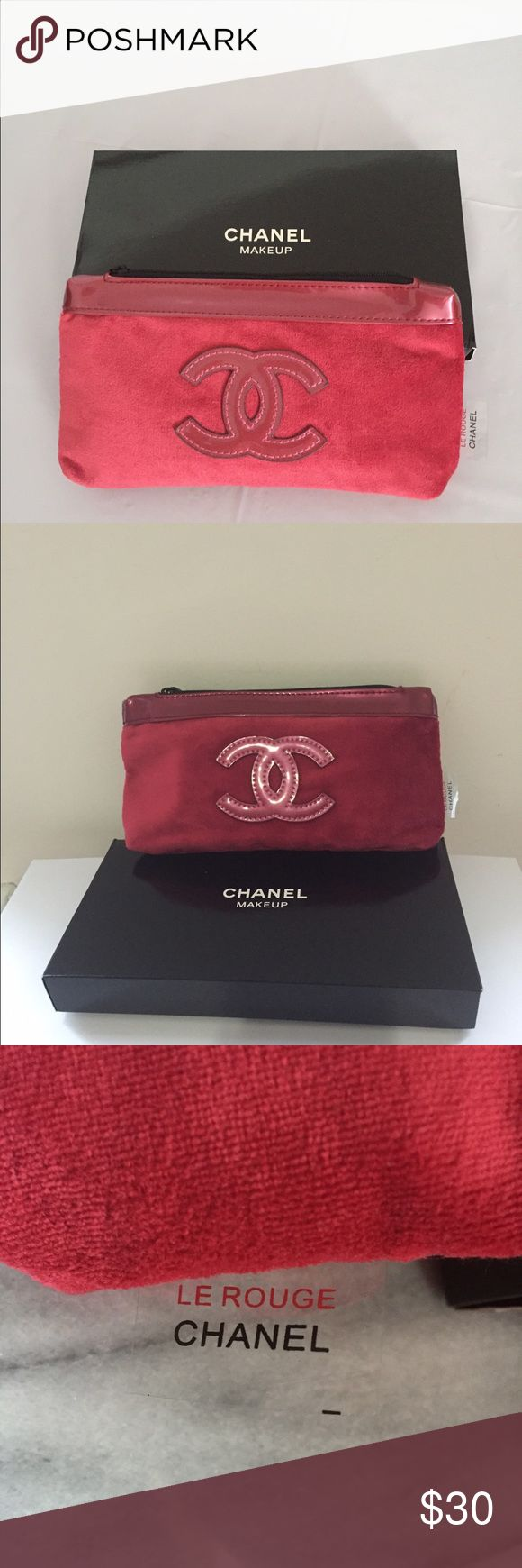 """CHANEL cosmetic bag medium, red NEW Medium sized Chanel cosmetic, makeup bag. Color - red, material- velvet. Big Chanel Logo on front. Length 8"""", height - 4"""", depth - 1"""". Zip closure. Comes with a brand box. THE PRICE IS FIRM. Chanel Bags Cosmetic Bags & Cases"""