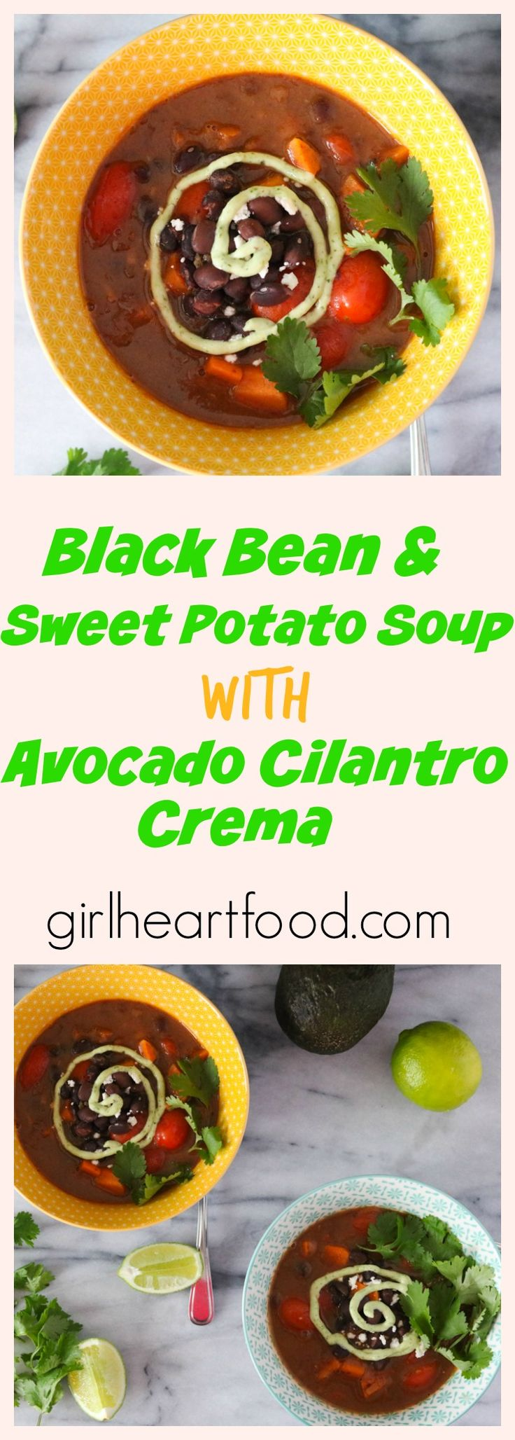 Black Bean and Sweet Potato Soup with Avocado cilantroCrema This Black Bean and Sweet Potato Soup with AvocadoCilantroCrema packs all kinds of flavour in one little bowl. It's made with simple ingredients like black beans and sweet potato, of course, and spiced up with smoky chipotle peppers. The avocado crema adds a pretty touch, but …