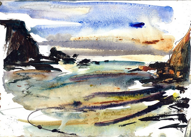 Trefin Bay, watercolour sketch by Adrian Homersham