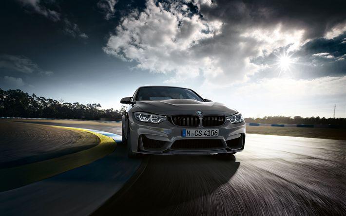 Download wallpapers 4k, BMW M3 CS, raceway, 2018 cars, F80, supercars, movement, new M3, BMW