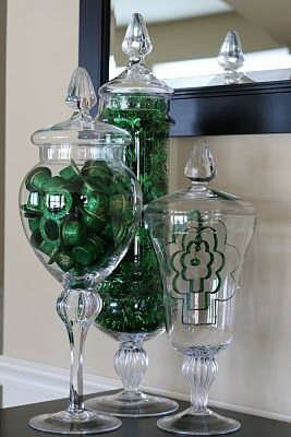 St. Patrick's Day apothecary jars