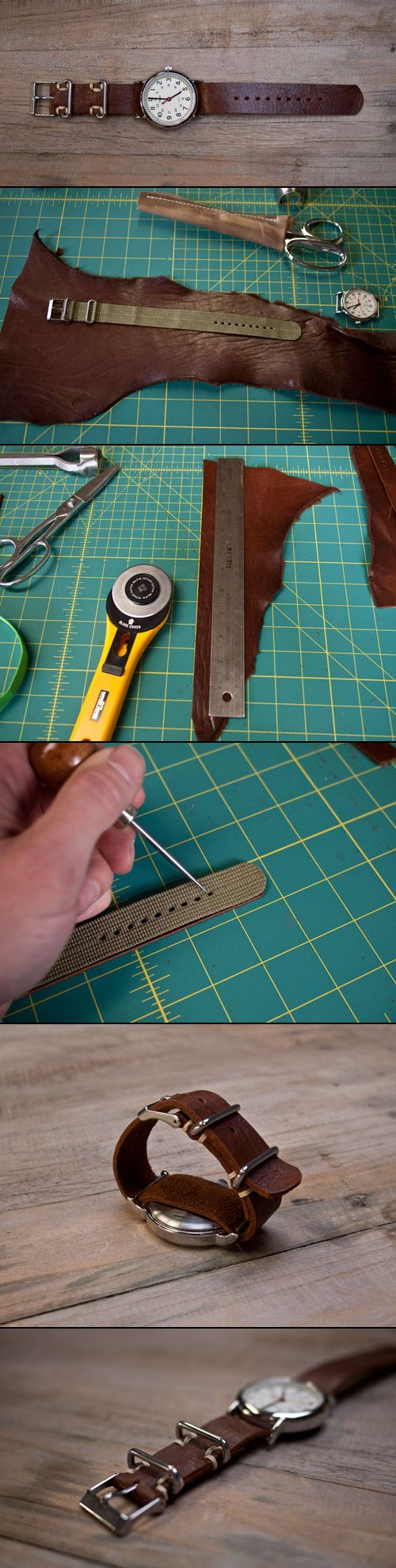 DIY leather watchban. Malla de reloj