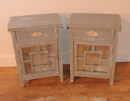 Pair Mirror Bedside Cabinets Chests Coastal
