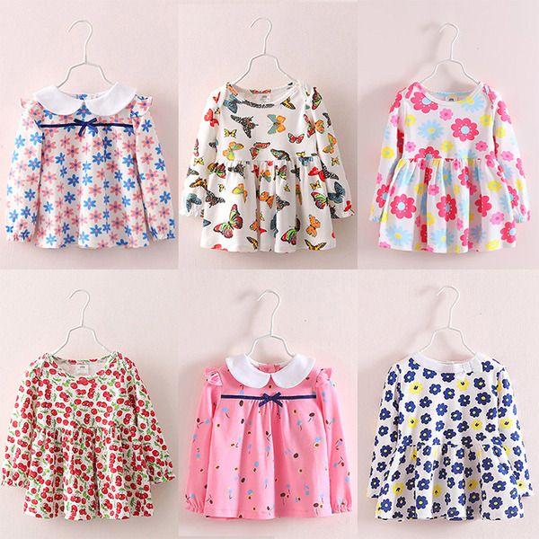 Дети цветочные платья 2017 весна девушки дети платье ребенка с длинными рукавами платье женское Т-2906