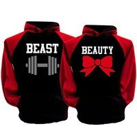 Wish | Couple Hoodie Valentine's Day Gift Beauty and Beast His and Hers Hooded Sweat Shirts* 1PC Sweatshirt