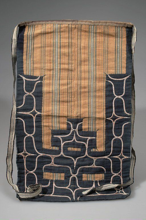 Maidari APRON  ASIAN ETHNOGRAPHIC COLLECTION  Catalog No: 70 / 195 Field No: 102   Culture: AINU  Locale: HOKKAIDO (YEZZO)  Country: JAPAN  Material: PLANT FIBER (NETTLE), CLOTH, THREAD  Dimensions: L:60 W:36 [in CM]  Technique: EMBRODERY, APPLIQUÉ  Acquisition Year: 1898 (EXPEDITION)   Donor: LAUFER, BERTHOLD